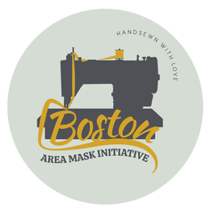 The Boston Area Mask Initiative logo featuring the silhouette of a grey sewing machine over a green background with yellow text.