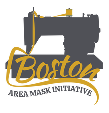The Boston Area Mask Initiative logo featuring the silhouette of a grey sewing machine with yellow text.